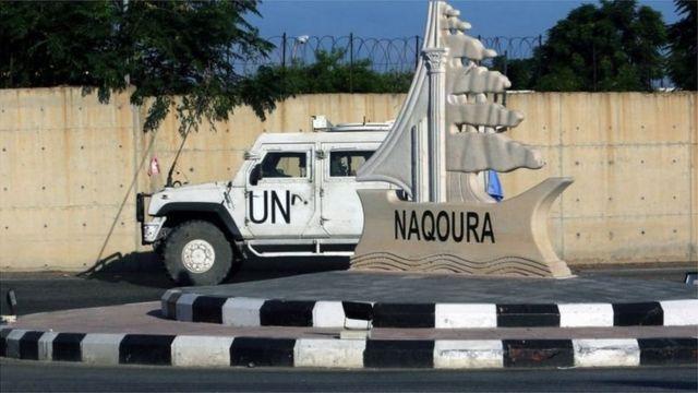سيارة تابعة للأمم المتحدة في منطقة رأس الناقورة