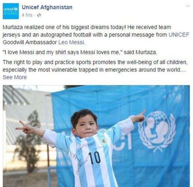 Unicef Facebook post