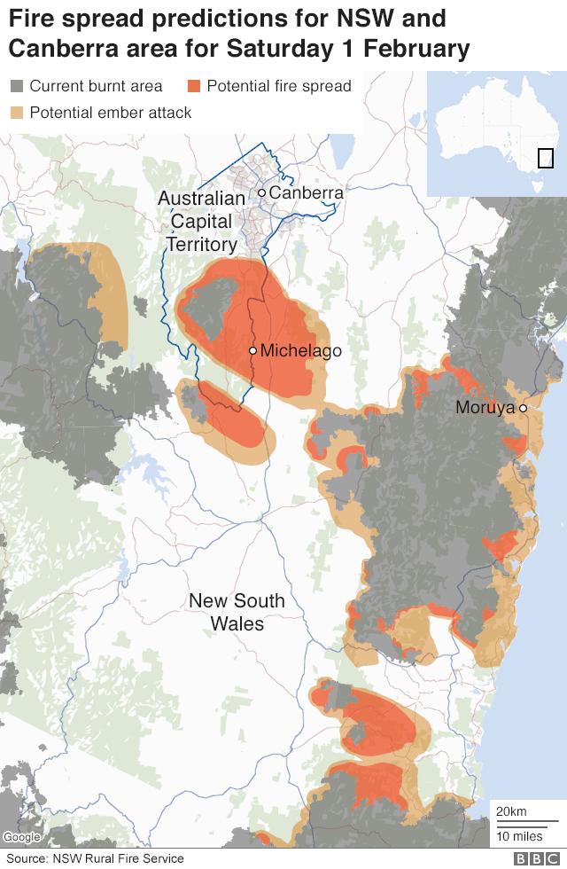 Predicted fire spread