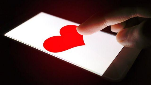 экран телефона с сердечком