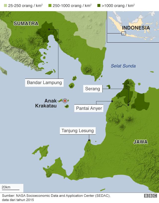 Kepadatan penduduk di kawasan terdampak tsunami Selat Sunda
