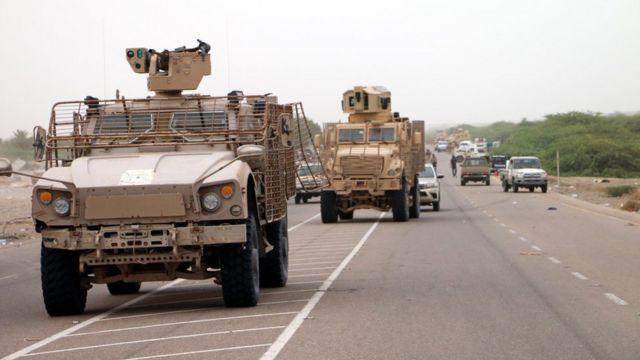 مدرعات تابعة لقوات التحالف في اليمن