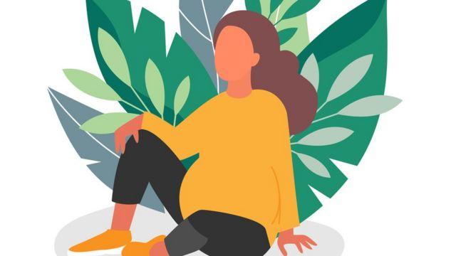 Ilustração mostra mulher grave com plantas atrás