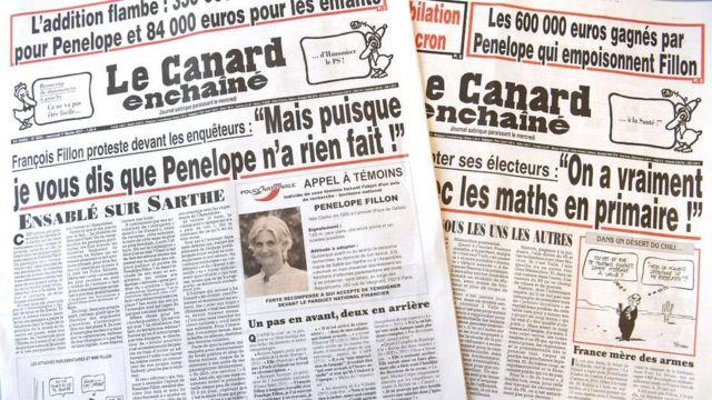 Portadas de Le Canard Enchaîné del 25 de enero y el 1 de febrero de 2017