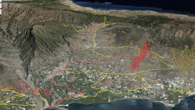 Imagem de satélite mostra caminho da lava (em vermelho)