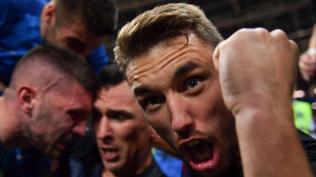 Croatian players celebrate in close-up