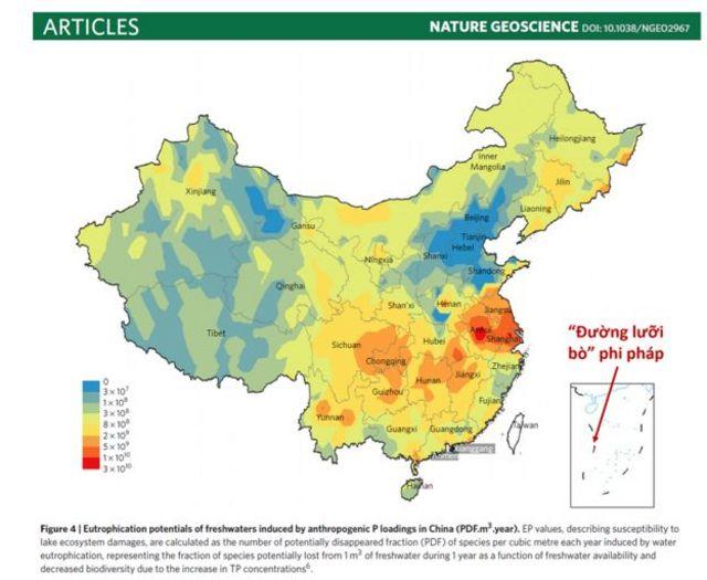 Hình có chèn Đường Lưỡi bò đi kèm bài viết của học giả Trung Quốc trên tạp chí Geoscience
