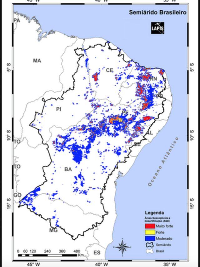 mapa da desertificação no Semiárido