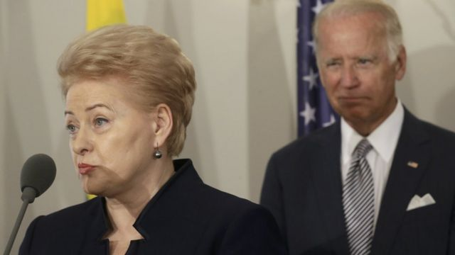 Президент Литвы Даля Грибаускайте также приехала в Ригу и встретилась с Байденом