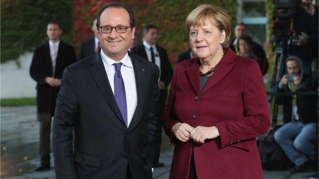 Francoise Hollande da Angela Merkel