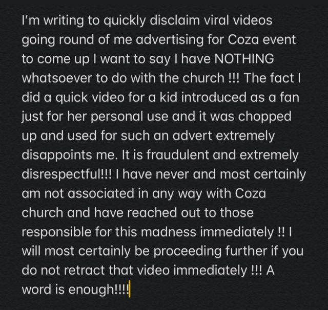 Screenshot of Davido statement