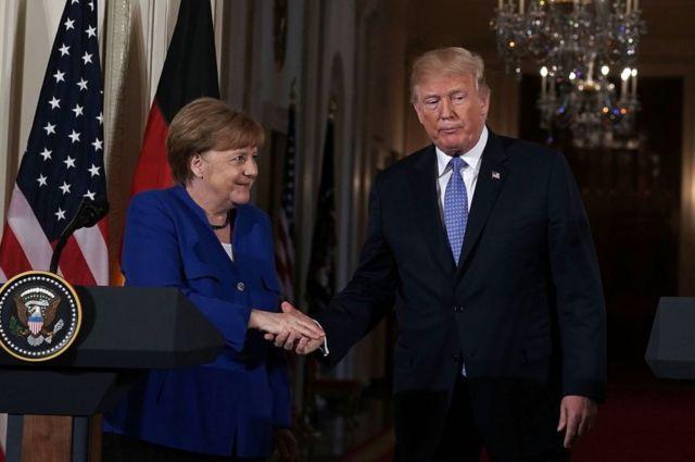 メルケル首相とトランプ大統領