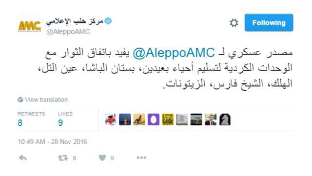 Aleppo tweet