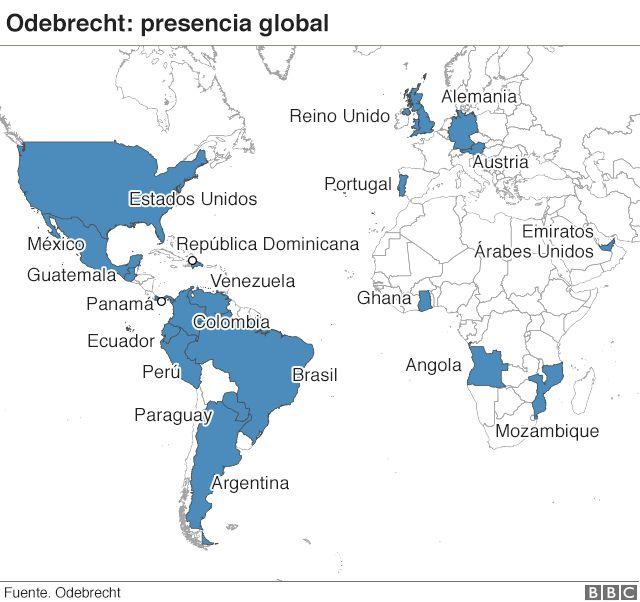 Mapa de la presencia global de Odebrecht.