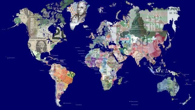Mapa del mundo con sus distintas divisas.