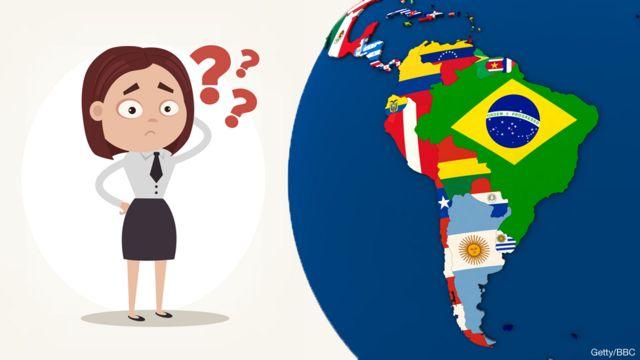 Dibujo animado duda sobre los países de América Latina.