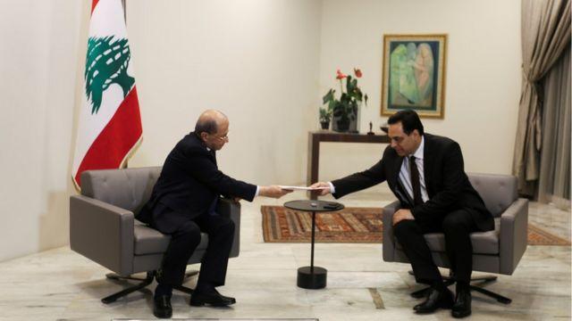Michel Aoun y Hassan Diab.