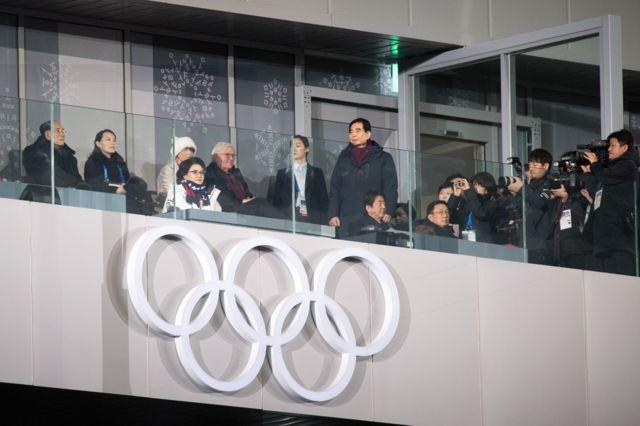 عکاسان در حال عکس گرفتن از خواهر رئیس جمهور کره شمالی در مراسم افتتاحیه المپیک زمستانی