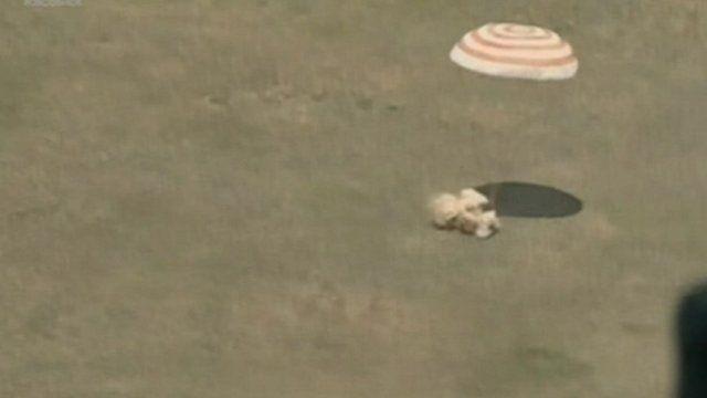 Soyuz capsule touches down