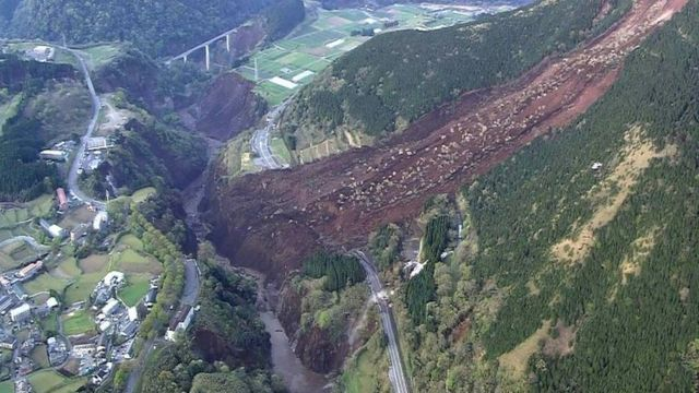 A landslide in Mimami-Aso, south-western Japan. Photo: 16 April 2016