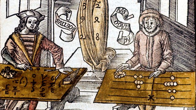 Pythagoras (right) using a tally table, competes against Boethius (Boece) using speed algorithms in calculation.  By Margarita Philosophica.  (Basel, 1508)