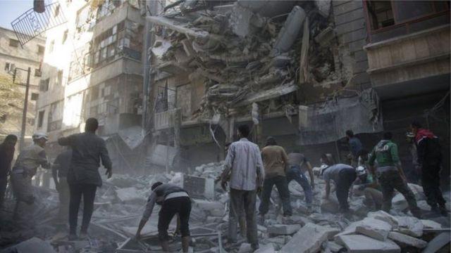 شهر حلب که بمباران شده