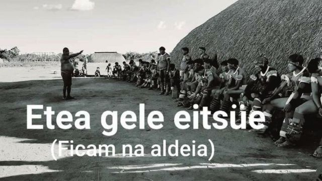 Poster diz para as pessoas ficarem em suas aldeias