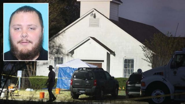 Texas church gunman Devin Patrick Kelley (L) and the First Baptist Church in Sutherland Springs, a small town in Wilson County, Texas.
