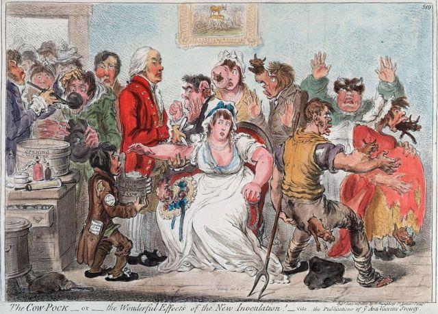 Caricatura hecha por los que estaban en contra de la vacuna