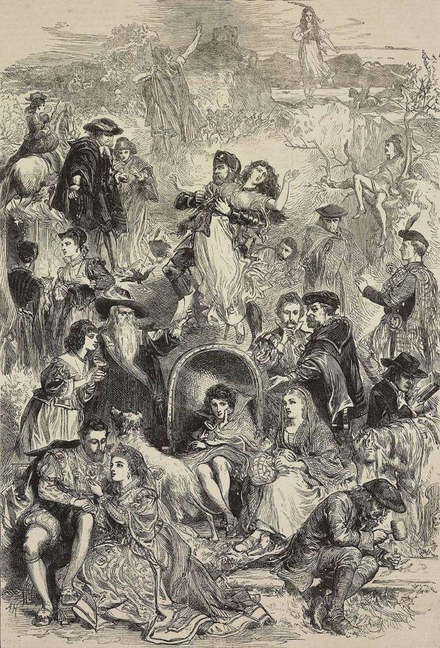 Ilustración de Waverley, novela histórica de Walter Scott, grabado de The Illustrated London News, No 1664, 12 de agosto de 1871.