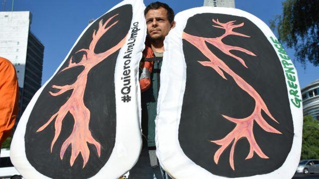 """Hombre con dos grandes carteles que representan pulmones y un mensaje que reza """"quiero aire limpio""""."""