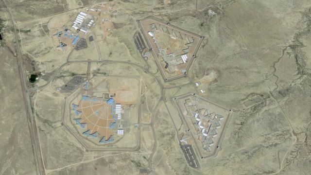 Satellite pictures show the ADX Florence prison from above