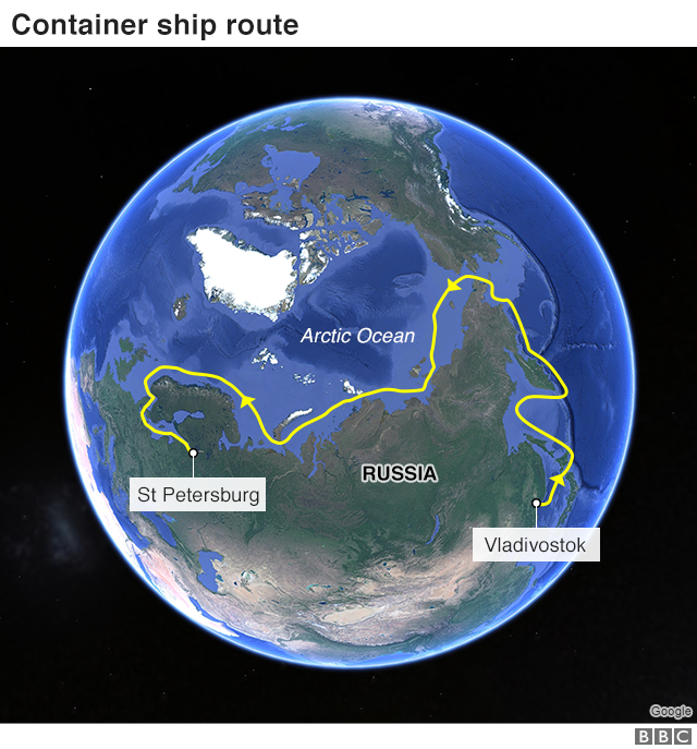 Map showing container ship route