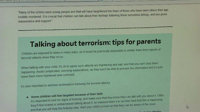 A web page with information for parents