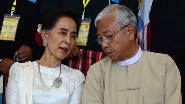 ティン・チョー氏はミャンマーの大統領だが、実際はスーチー氏に従う立場だ
