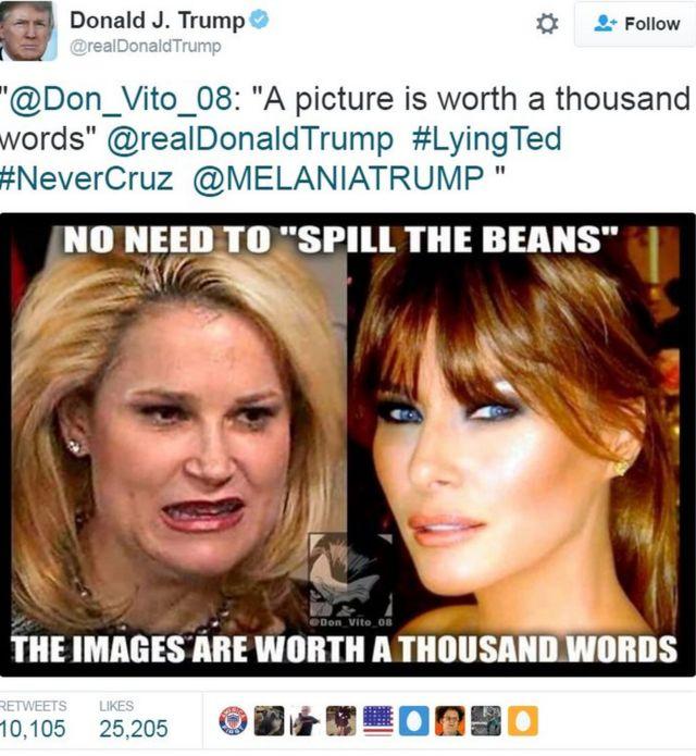 """Tuit de Donald Trump mostrando imágenes de Melania Trump y Heidi Cruz con el texto: """"Imágenes valen mil palabras""""."""