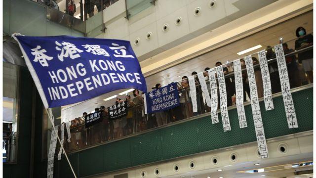 有建制聲音認為,揮動這些旗幟足以被控告違反《國安法》。
