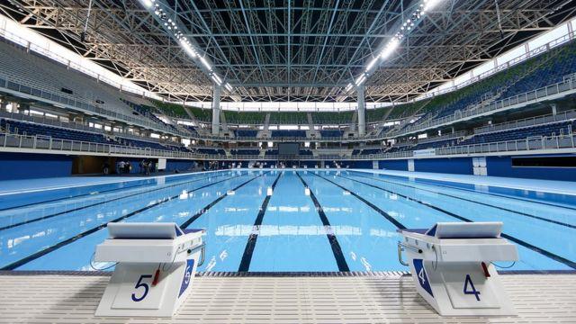 La piscina en el Estadio Acuático de Natación