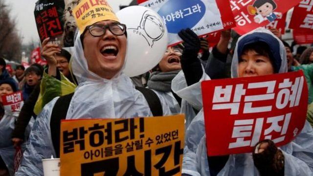 दक्षिण कोरिया में प्रदर्शन