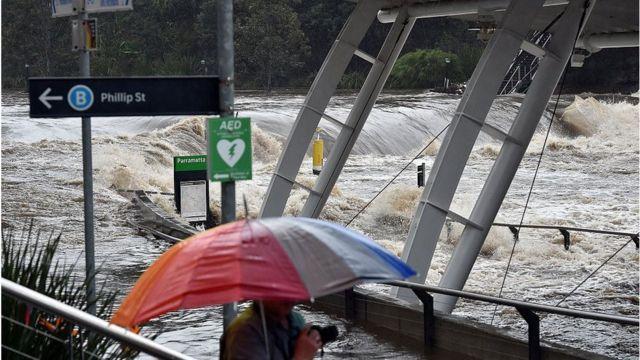The flooded Parramatta ferry wharf on Sunday