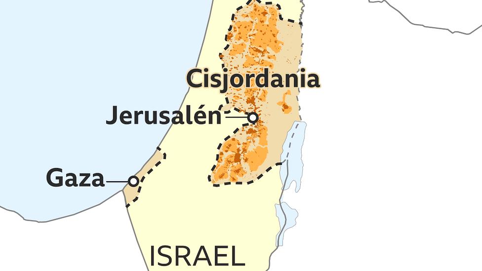 Mapa 6: fronteras actuales de Israel