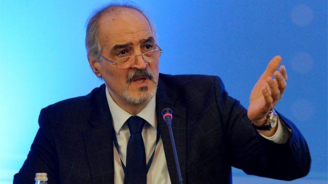بشار الجعفري، رئيس وفد الحكومة السورية إلى أستانة، في مؤتمر صحفي عقب انتهاء المحادثات