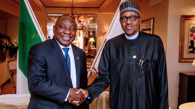 President Cyril Ramaphosa meet President Muhammadu Buhari for Abuja