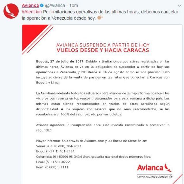 Mensaje de Avianca en Twitter