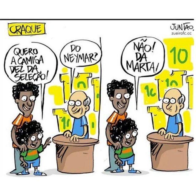 """Caricatura de Juniao. """"Quiero la caseta 10 de la selección"""", dice el niño. """"¿La de Neymar?"""", pregunta el vendedor. """"¡No, la de Marta!"""", exclama el pequeño."""