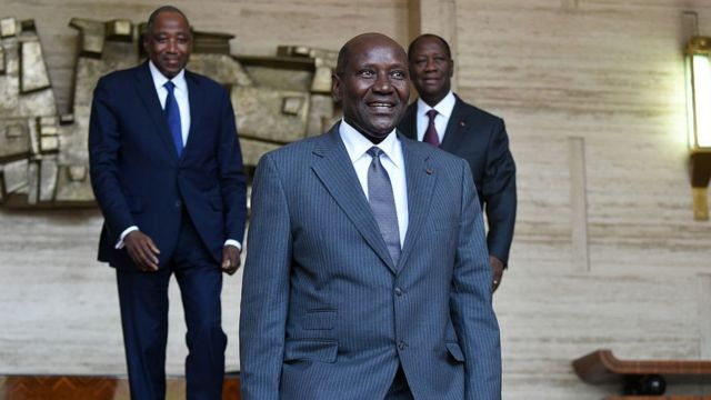 Amadou Gon Coulibaly (G), Alassane Ouattara (D) et Daniel Kablan Duncan (C)
