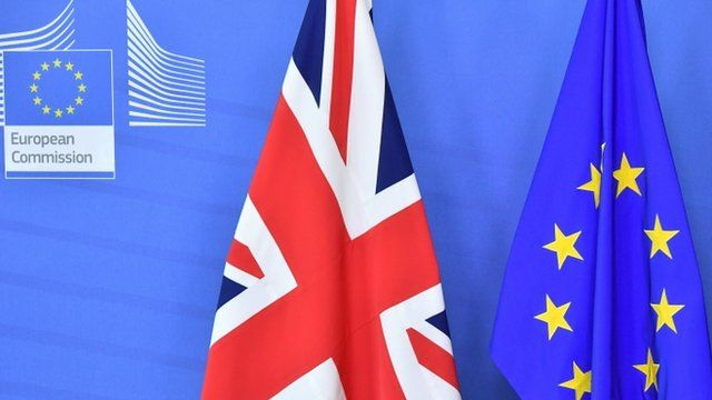 Flags of the UK and EU