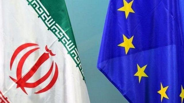 پرچم های ایران و اتحادیه اروپا