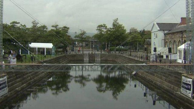 The temporary Meccano bridge has been built across Belfast's Clarendon Dock