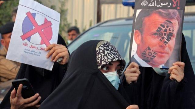 Protes Irak di Baghdad atas pernyataan Macron tentang penerbitan kartun Nabi Muhammad.